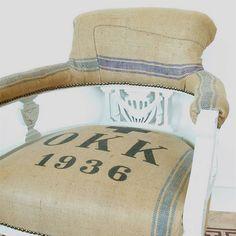 vintage 1936 victorian grain sack chair by blanche dlys designs | notonthehighstreet.com
