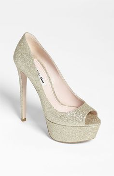 Gotta get me some BLING pumps Miu Miu Glitter Peep Toe Pump available at #Nordstrom - #nordstromweddings