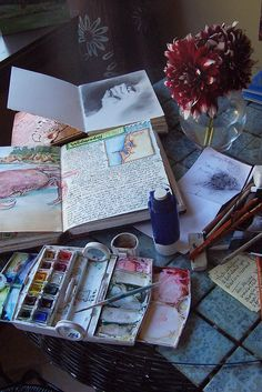 Over the years I have had folks inquiring about what tools/mediums I use in my visual journals. Thought I would share a bit, basically I start drawing with a Faber-Castell PITT artist pen (usually no pencil, just jumping in feet first with the ink), then I apply color with my Winsor & Newton watercolor traveling kit, and finally I punch up colors and add details with Prisma Color Pencils. (not shown here)