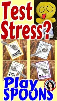 How about a little Test Prep? These Spoons Game will help the students remember the concepts and help them apply the rules during test prep. Review and test prep disguised as a game. Let the learning and fun begin.