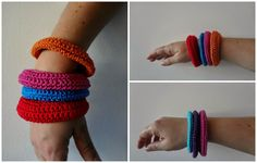 Little Treasures: Crocheted Summer Bracelets - free tutorial Diy Necklace, Diy Bracelet, Summer Bracelets, Diy Crochet, Diy Tutorial, Diy Things, Beaded Bracelets, Crafty, Beads
