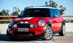 Mini cooper with checkered mirrors this is what I want just like this!!!:-)