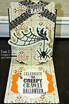 """Celebrate a Creepy Crawly Halloween""??  That is perfect for a 'Boris the Spider' card I am hoping to craft.  It's a stamp from Stampin' Up."