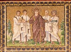 Miracle of the loaves and fishes, mosaic from the top register of the nave wall of Saint Apollinare Nuovo, Ravenna, Italy, 504 Early Christian, Christian Art, Joseph Of Arimathea, Ravenna Italy, Christmas History, Ichthys, Life Of Christ, Byzantine Art, Byzantine Mosaics