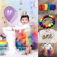 Rainbow First Birthday Outfit, Girls 1st Birthday Tutu, One Year Old Onesie, Over the Rainbow Smash Cake Photo Outfit, First Birthday Outfit by AvaryMaeInspirations on Etsy #rainbowfirstbirthday #rainbowtutu #1stbirthdayoutfit #firstbirthdayoutfit #rainbowbaby #girlstutu #bubblegumbeads #chiffonheadband #rainbowheadband #smashcakephoto