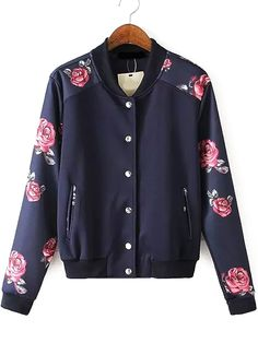 Shop Stand Collar Florals Jacket at ROMWE, discover more fashion styles online. Girls Fashion Clothes, Fashion Outfits, Clothes For Women, Latest Street Fashion, Trendy Fashion, Floral Jacket, Print Jacket, Sweater Shirt, Coats For Women