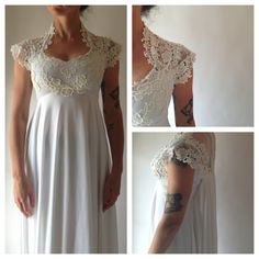 1960's lace and jersey knit wedding gown