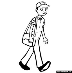 postman coloring page free postman online coloring