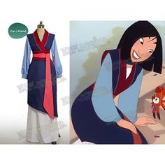 Disney Mulan Cosplay, Mulan Costume Outfit ($156) ❤ liked on Polyvore featuring costumes, cosplay costumes, disney halloween costumes, blue costumes, cosplay halloween costumes and blue halloween costumes