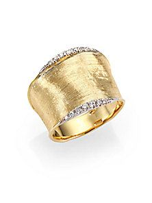 Marco Bicego - Lunaria Diamond & 18K Yellow Gold Wide Band Ring l Saks Fifth Avenue