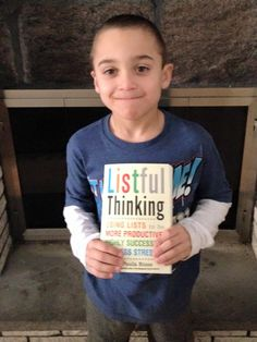 Another pint-sized list maker! My nephew Louis with his copy of #ListfulThinking! #ListfulThinkingShelfie