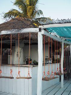 DIY swing seats backyard tiki bar Coco Tulum beach bar by the pool