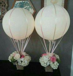 New baby shower flowers centerpieces hot air balloon ideas Wedding Balloon Decorations, Wedding Balloons, Wedding Centerpieces, Wedding Table, Modern Centerpieces, Wedding Ideas, Christening Centerpieces, Diy Wedding, Wedding Venues