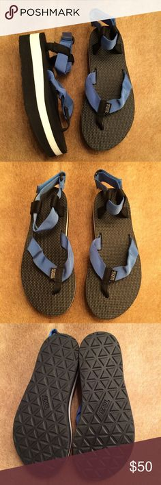 Teva Flatform Original Sandals These sandals are amazing! They are a beautiful blue, white and black color! These sandals are in excellent condition! Teva Shoes Sandals