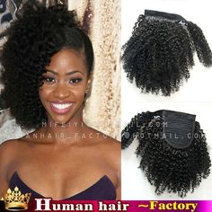 68.98$  Buy here - http://alil3b.worldwells.pw/go.php?t=32608688275 - African american Short Clip in Human afro kinky curly virgin brazilian hair Wrap around ponytail hair extensions for black women 68.98$