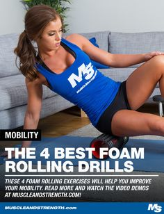 Foam rolling isn't breaking up scar tissue but you can use it to improve your mobility. John Rusin shows you how with these 4 simple drills. Mens Fitness, Fitness Tips, Health Fitness, Training Programs, Training Tips, Strength Training Women, Foam Rolling, High Intensity Interval Training, Health Goals