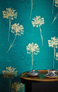 Teal Wallpaper with floral print, golden foil flowers - Kimora x Embossed/Foiled Wallpaper Roll Golden Colour Wallpaper, Teal And Gold Wallpaper, Bold Wallpaper, Print Wallpaper, Colorful Wallpaper, Wallpaper Roll, Pattern Wallpaper, Teal Flower Wallpaper, 3d Wallpaper Designs For Walls