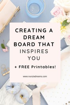 Pin -- Creating a Dream Board that Inspires You + Free Printables! Dream boards can be super general or focused on one goal. For your canvas, you migh Creating A Vision Board, Hacks, Dream Boards, Day Planners, Coping Skills, Setting Goals, Grafik Design, Meaningful Quotes, Law Of Attraction