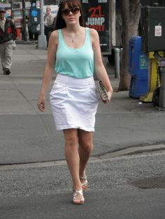 Mint tank and white skirt