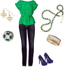 Four-tet Earrings, Royal Blue Ring, Shannon's Medley Necklace, Veranda Bracelet
