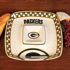 Green Bay Packers Ceramic Chip and Dip Tray < I love this tray #UltimateTailgate #Fanatics