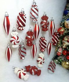 18 peppermint candy christmas ornaments for table top tree or crafts - Candy Christmas Ornaments