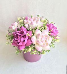 Polymer clay flowers / Интерьерные композиции ручной работы. Ярмарка Мастеров - ручная работа. Купить Букет гардений. Handmade. Сиреневый, гардения