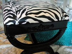 Zebra Print Ottoman by UniquitiesFurniture on Etsy