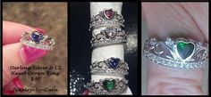 WOOHOOO!!! FINALLY.....BACK IN STOCK!!!! (blue cz still only available in sz 10 right now but should be back soon) If you ordered a green one it is now in stock!!! I am ordering asap!!! Sterling Silver CZ Crown Rings.....$30 CZ Garnet (whole sizes 5-11) CZ Tanzanite (sz 10)..and I have ONE sz 9 in stock. CZ Emerald ( whole sizes 4-11 CZ Clear (whole sizes 5-11) www.facebook.com/groups/jewelrybycara