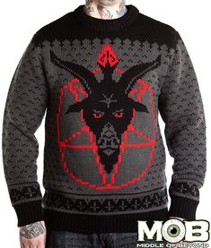 Looking for a dark twist on an Ugly Christmas Sweater? sweaters to fit your gothic or spooky needs! Krampus, Baphomet, Vampires, Halloween, and more! Baphomet, Christmas Jumpers, Ugly Christmas Sweater, Sweater Weather, Dark Christmas, Ugly Sweater, Skull Sweater, Unisex, Being Ugly