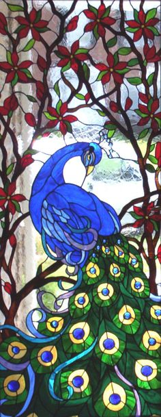 stained-glass-peacock by eddie - Cool Glass Art Designs Stained Glass Birds, Faux Stained Glass, Stained Glass Designs, Stained Glass Panels, Stained Glass Projects, Stained Glass Patterns, Leaded Glass, Mosaic Art, Mosaic Glass