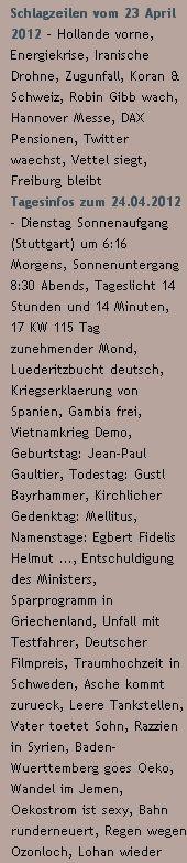 Schlagzeilen vom 23 April 2012 / Tagesinfos zum 24.04.2012 - http://www.schoeneswetter.com