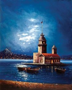 🌻 For more great pins go to Oil Painting Pictures, Pictures To Paint, Lighthouse Art, Turkish Art, Z Arts, Pour Painting, Seascape Paintings, City Art, Galaxy Wallpaper