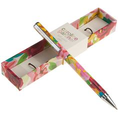 Caroline Gardner Painted Floral Ball Point Pen ($16) ❤ liked on Polyvore featuring home, home decor, office accessories, multi, floral boxes, engraved box, caroline gardner, key box and painted boxes