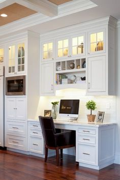 Trendy home office nook filing cabinets 49 ideas Kitchen Office Nook, Kitchen Desk Areas, Kitchen Desks, Home Office Desks, Kitchen Cabinets, Kitchen Shelves, Glass Cabinets, Kitchen Work Station, Open Shelves