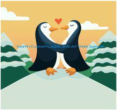Martin Custom Logos and Art Work Sample Like Us On Facebook #customlogo #logodesign #logo #artwork #websitegraphics #graphics #penguin #kissing #snow #trees #heart #love