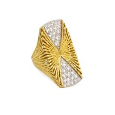 A textured gold and pavé diamond plaque ring of X-form design, in 18k and platinum. Hammerman Bros. Atw. 1.20 ct. diamonds.