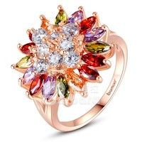 Barbara丨Women Luxury 18K Gold Plated AAA Colorful Cubic Zircon Engagement Finger Ring