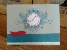 Baseball Coach Thank You Card - stamps Stampin Up Great Sport set, glimmer paper - colors sahara sand cardstock, not quite navy, real red