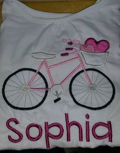Valentine Bike Applique! Love this one! My lil girl was so excited to see what I had embroidered for her!