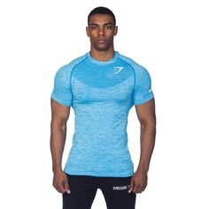 Gymshark fit seamless t-shirt - aqua t-shirts gymshark international innova Workout Attire, Workout Wear, Workout Shirts, Mens Fitness, Fitness Wear, Fitness Shirts, Fitness Apparel, Gym Fitness, Workout Accessories