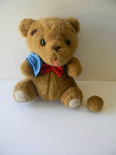 """8"""" Sanrio Brown Bear Stuffed Animal Play Music Pull String Tail Red Bow Tie #AllOccasion"""