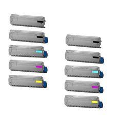 N 10PK Compatible 4 x 43324404 + 2 x 43324403 43324402 43324401 Toner Cartridge For OKI C5800