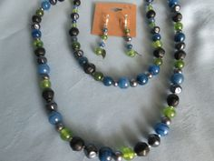 """Handmade Two Strand Beaded Necklace + Earrings -Vintage Beads - Blue,Green,Black Beads - Lobster Clasp- extender chain - Length 30"""" & 24"""" by LsFindsandCreations on Etsy"""