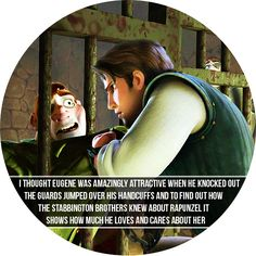 """""""I thought Eugene was amazingly attractive when he knocked out the guards jumped over his handcuffs and to find out how the Stabbington brothers knew about Rapunzel. It shows how much he loves and cares about her."""" -totally agree! :)"""