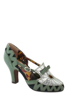 Alumni Reception Heel by Miss L Fire - Green, Silver, Bows, Holiday Party, Luxe, Statement, International Designer, Mid, Leather, Print, Vin...