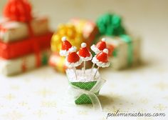 Miniature Dollhouse Food - Christmas Santa Hat Cake Pops in 1/12 Scale