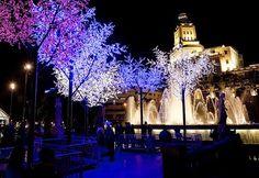 plaza cataluña y su esplendor por las noches