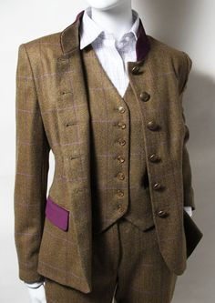 Ladies Tweed Suit & Waistcoat. I love the splash of colour on the pocket