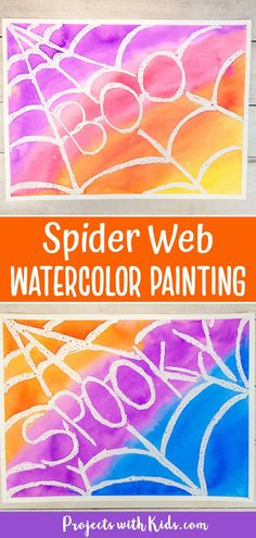 Kids will use a watercolor resist technique and add in some fun Halloween words to make this easy spider web art project! A great Halloween painting idea!